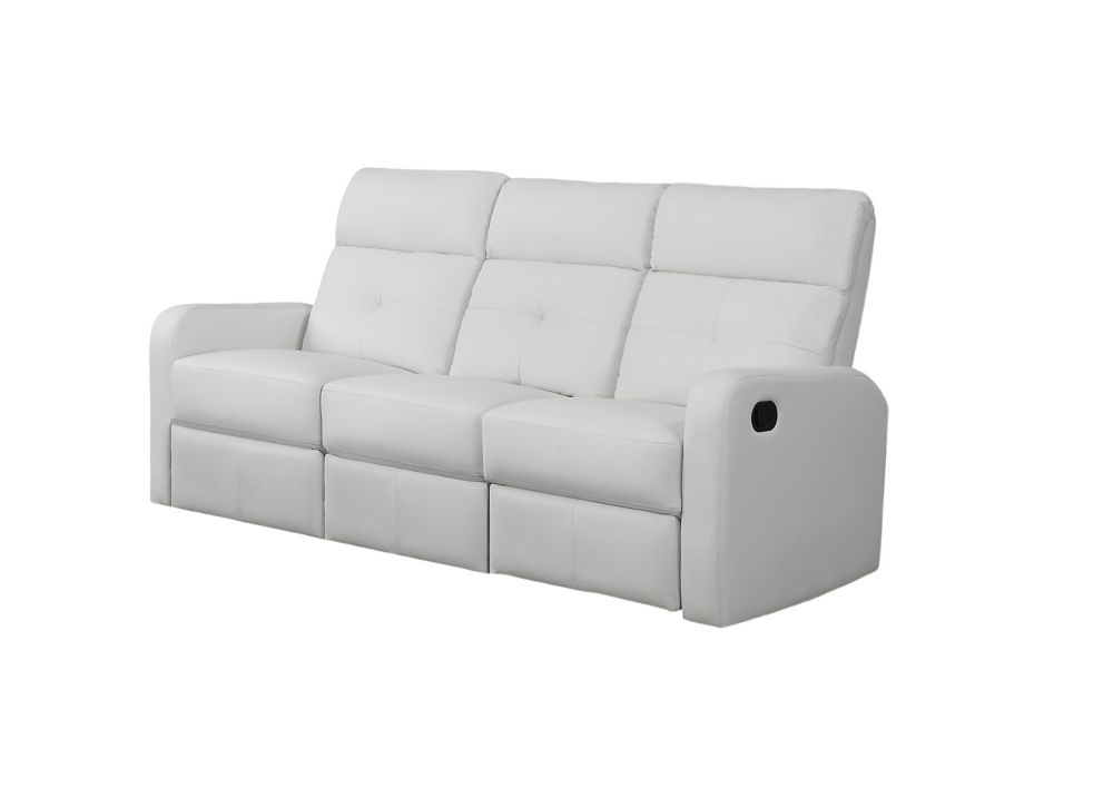 Reclining - White Bonded Leather Sofa
