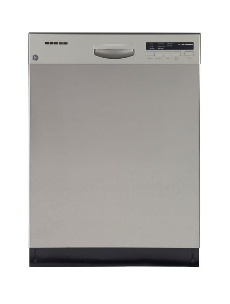 "GE 24"" Front Control Built-In Tall Tub Dishwasher in Stainless Steel with Stainless Steel Tub and Steam Cleaning, 49 dBA"