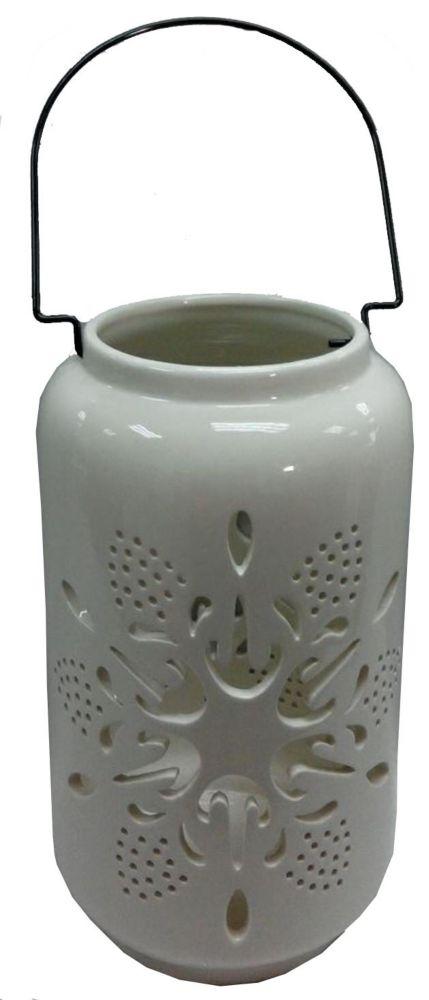 WW Large White Ceramic Lantern - Snowflake Design