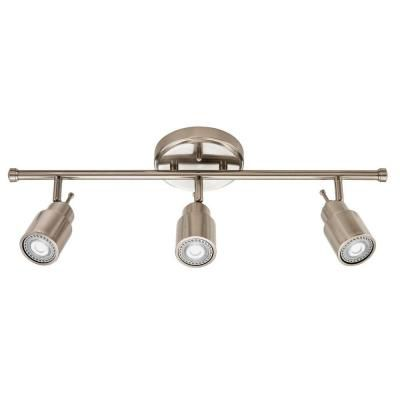 Trousse déclairage sur rail avec tête fixe en nickel brossé à 3lampes DEL de 61cm (24po)