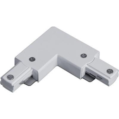 Connecteur à 90degrés déclairage sur rail � blanc avec couvercle noir
