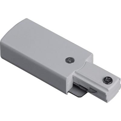 Connecteur dalimentation déclairage sur rail � blanc avec couvercle noir