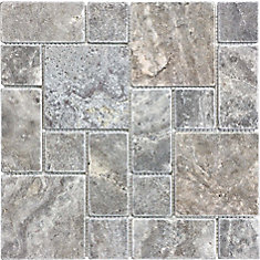 Silver Grey Tuscan Pattern Tumbled Mosaics