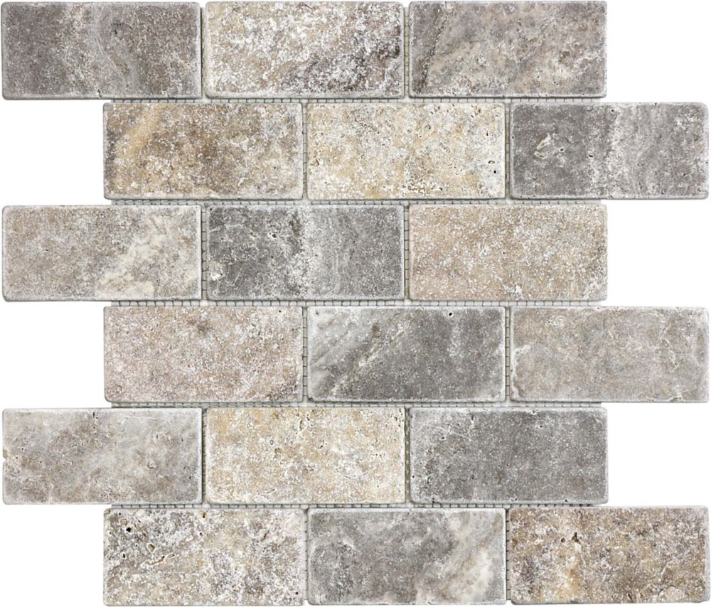 - Enigma 2 Inchx4 Inch Silver Grey Tumbled Brick Mosaics The Home