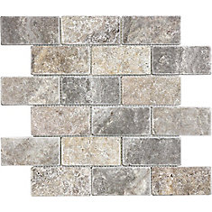 2 Inchx4 Inch Silver Grey  Tumbled Brick Mosaics
