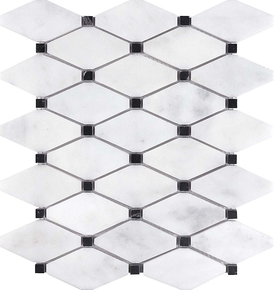 Bianco Polished Clipped Diamond Mosaics