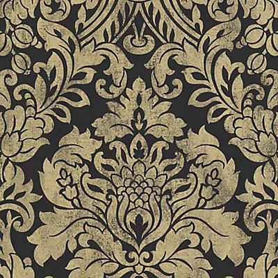 Graham Brown Gloriana Gold Black Wallpaper