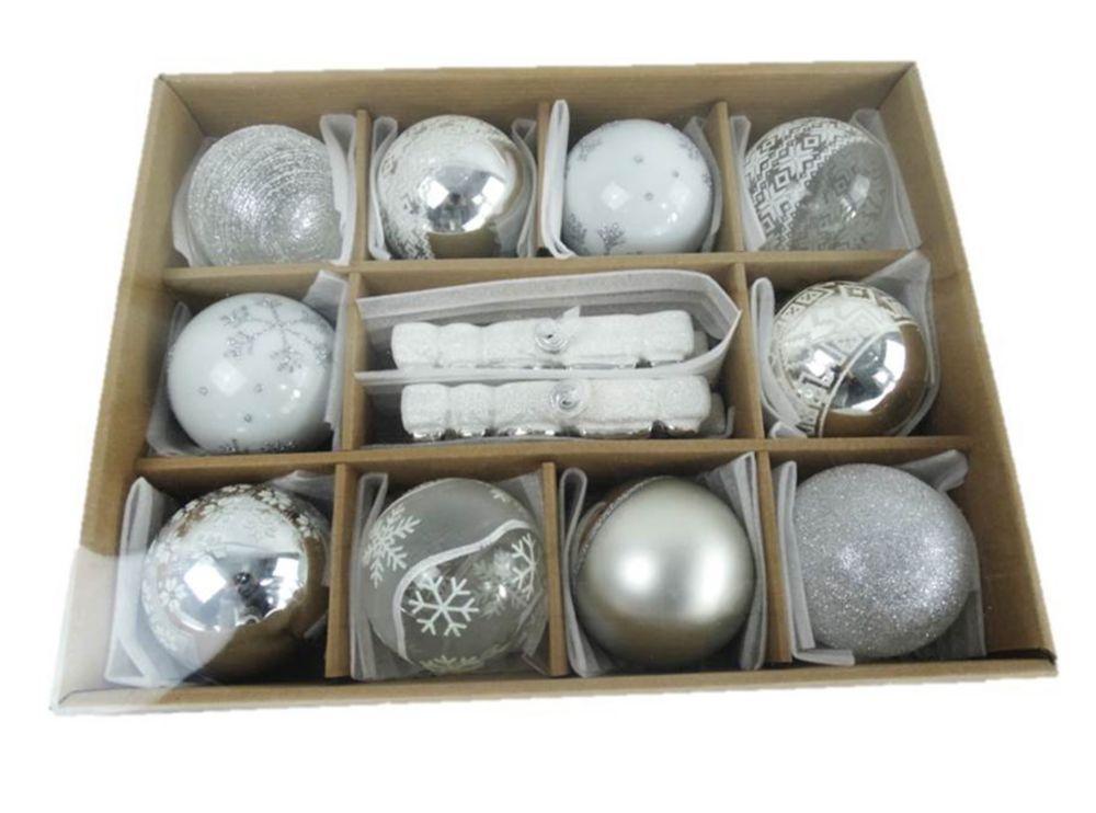 12 pièces de décorations en verre blanc et argent