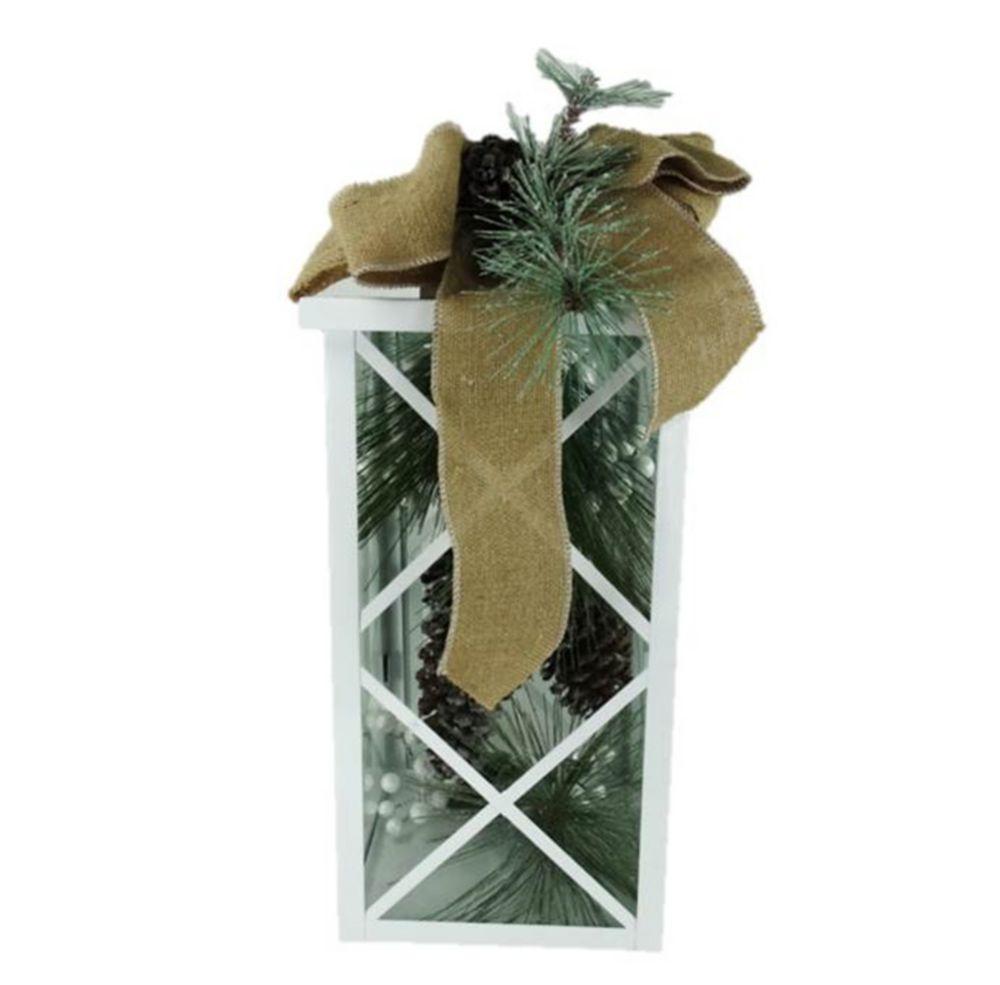 White Metal Lantern With Pine Cone