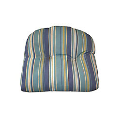 Bozanto Inc. 18 x 20 x 4 inch Reversible Dining Chair Seat Cushion with Blue Stripe