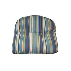 Reversible Dining Chair Seat Cushion in Blue Stripe