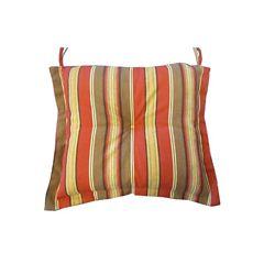 Bozanto Inc. 20 x 18 x 3 inch Reversible Dining Chair Seat Cushion with Orange Stripe