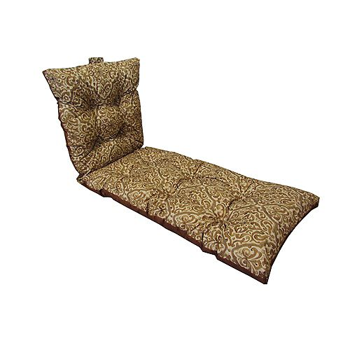Bozanto Inc. 22 x 70 x 4 inch Reversible Chaise Lounge Patio Cushion with Multi-Colour Floral Pattern