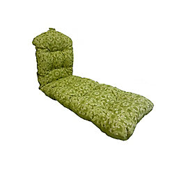 Bozanto Inc. 22 x 70 x 4 inch Reversible Chaise Lounge Patio Cushion in Green Floral
