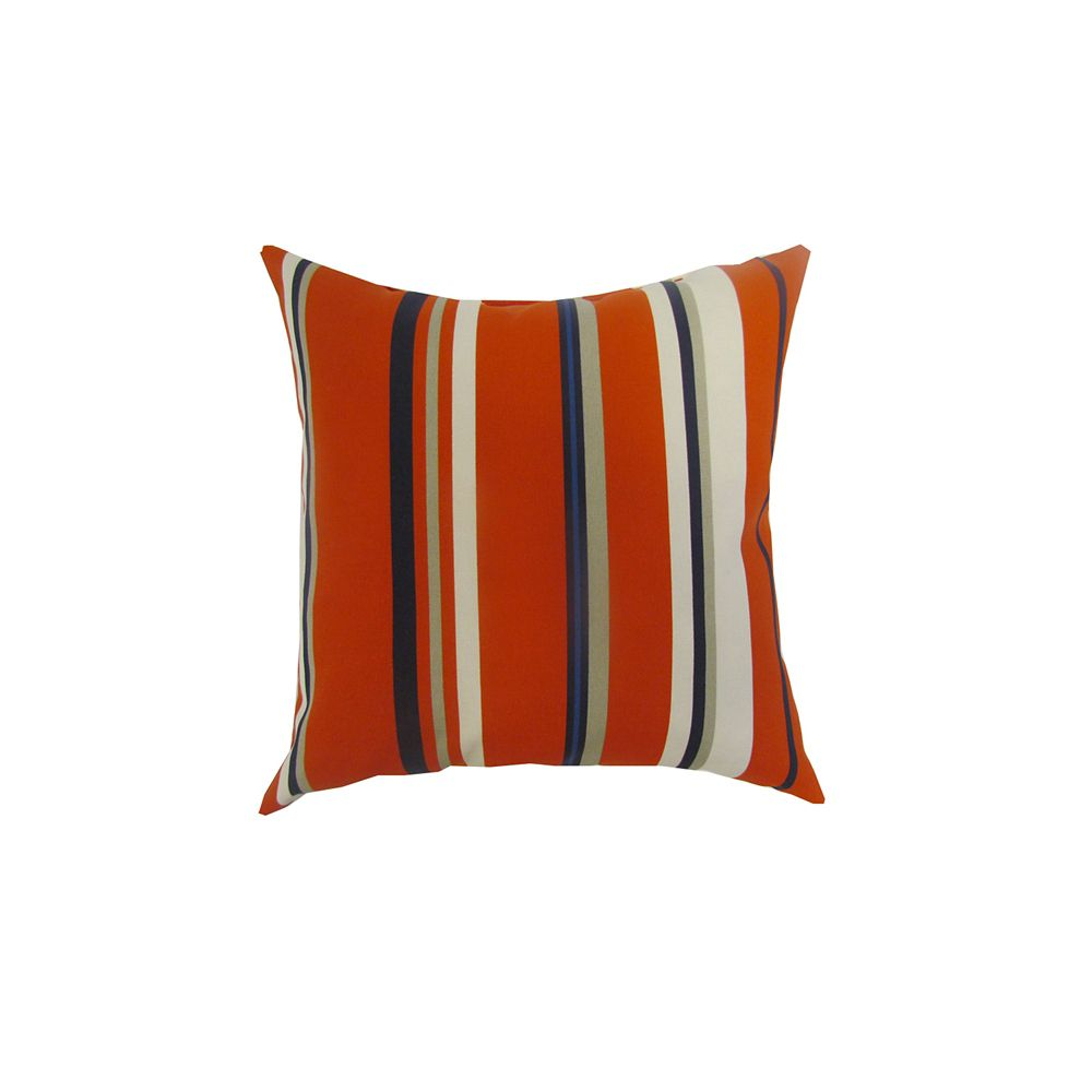 Bozanto Inc. 16 x 16 x 6 inch Outdoor Conversation Chair Toss Cushion in Red Stripe