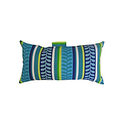 Bozanto Inc. 10.5 x 19 x 5 inch Outdoor Conversation Chair Toss Cushion with Blue Tropical Pattern