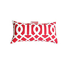 10.5 x 19 x 5 inch Outdoor Conversation Chair Toss Cushion in red Coastal Pattern