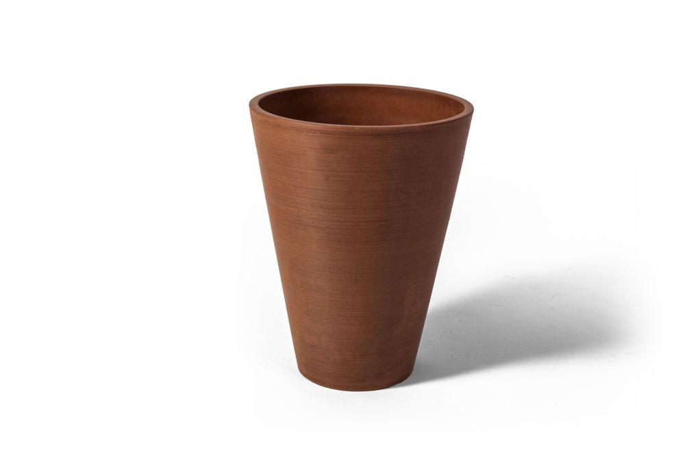 Valencia Round Planter Pot, 10 Inch X 12.75 Inch H, Textured Terra Cotta