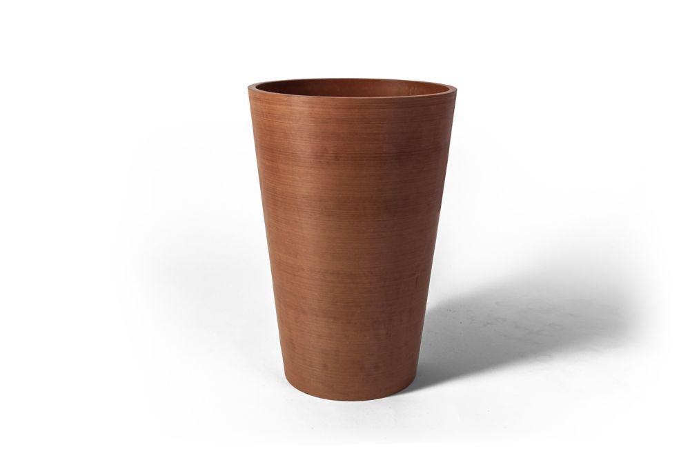 Pot de jardinière rond Valencia Algreen, 10po x 12,75po, Texturé Terre Cuite