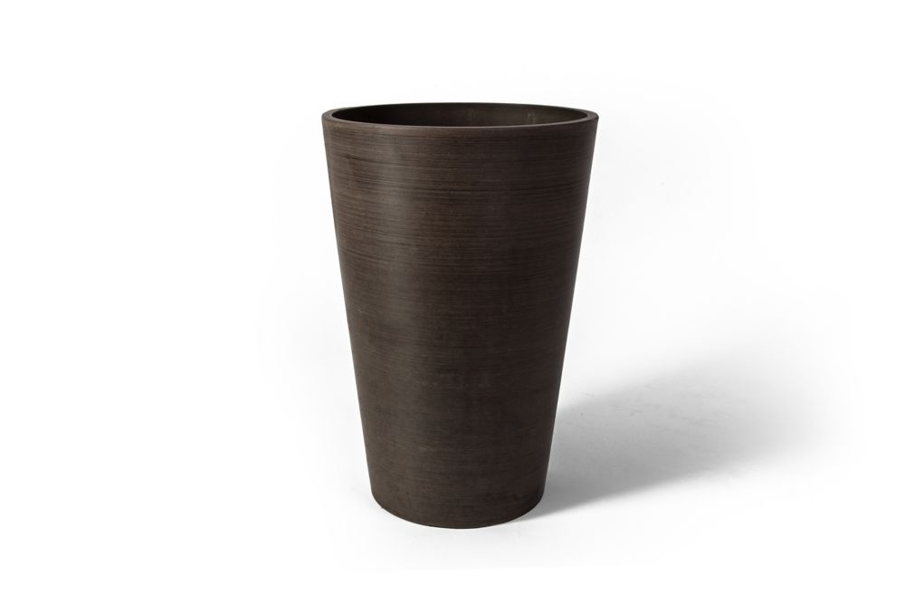 Valencia Round Planter Pot, 12.25 Inch X 18 Inch H, Textured Brown