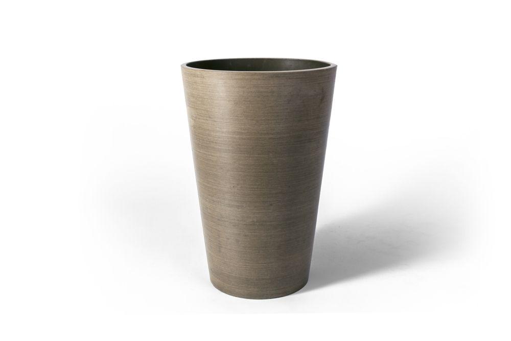 Pot de jardinière rond Valencia Algreen, 10po x 12,75po, Taupe texturé