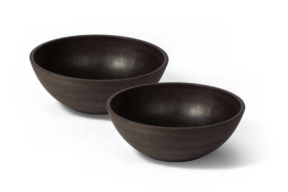 Valencia Planter Bowl, 10 Inch X 3.75 Inch H, Textured Brown, 2 Pack