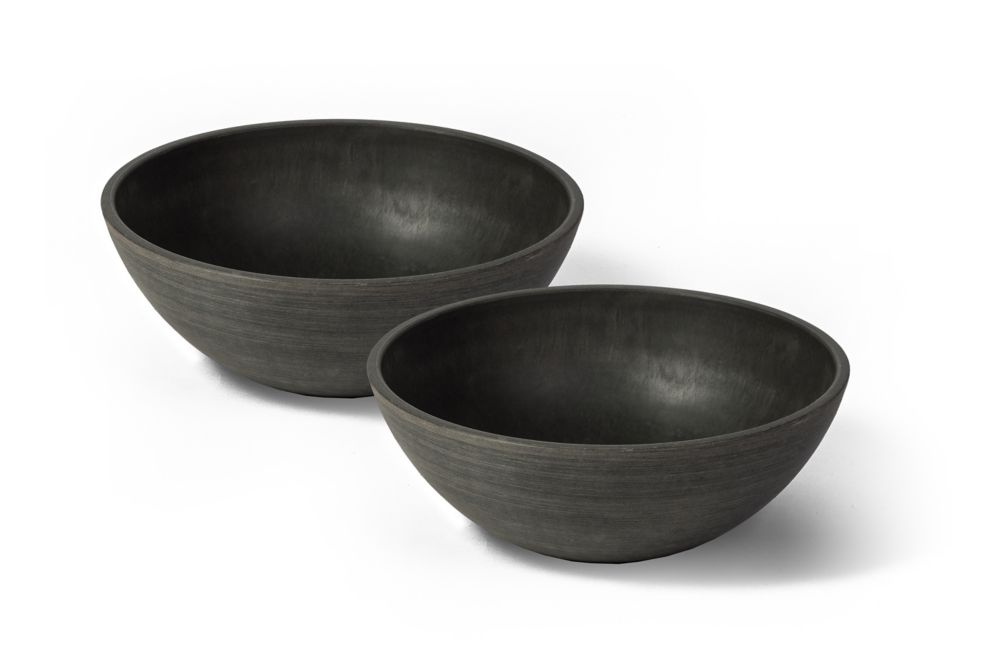 Valencia Planter Bowl, 10 Inch X 3.75 Inch H, Textured Charcoal, 2 Pack