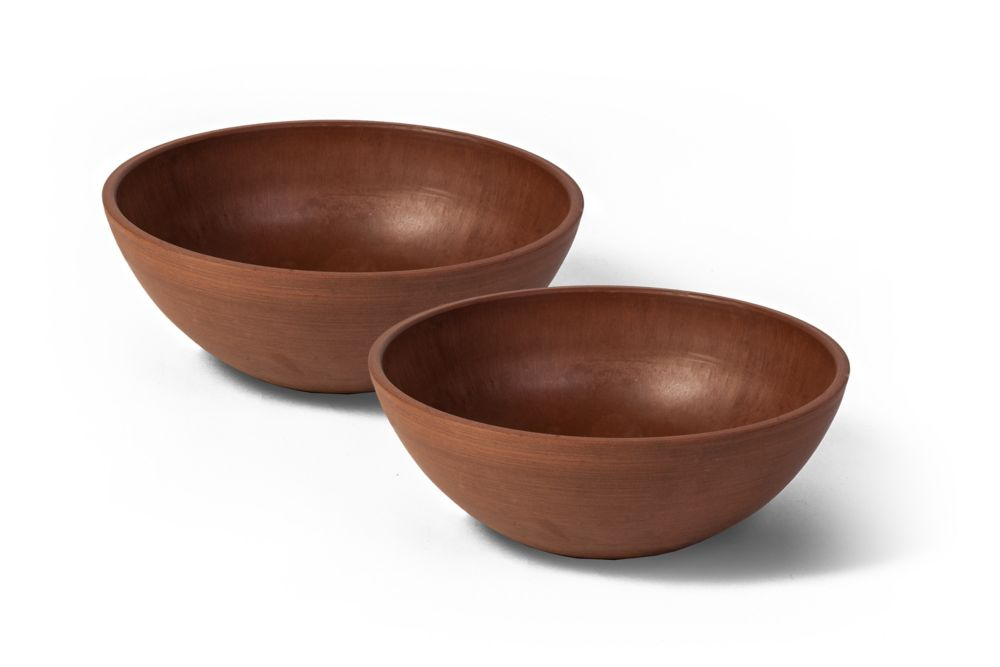 Valencia Planter Bowl, 12 Inch X 4.5 Inch H, Textured Terra Cotta, 2 Pack