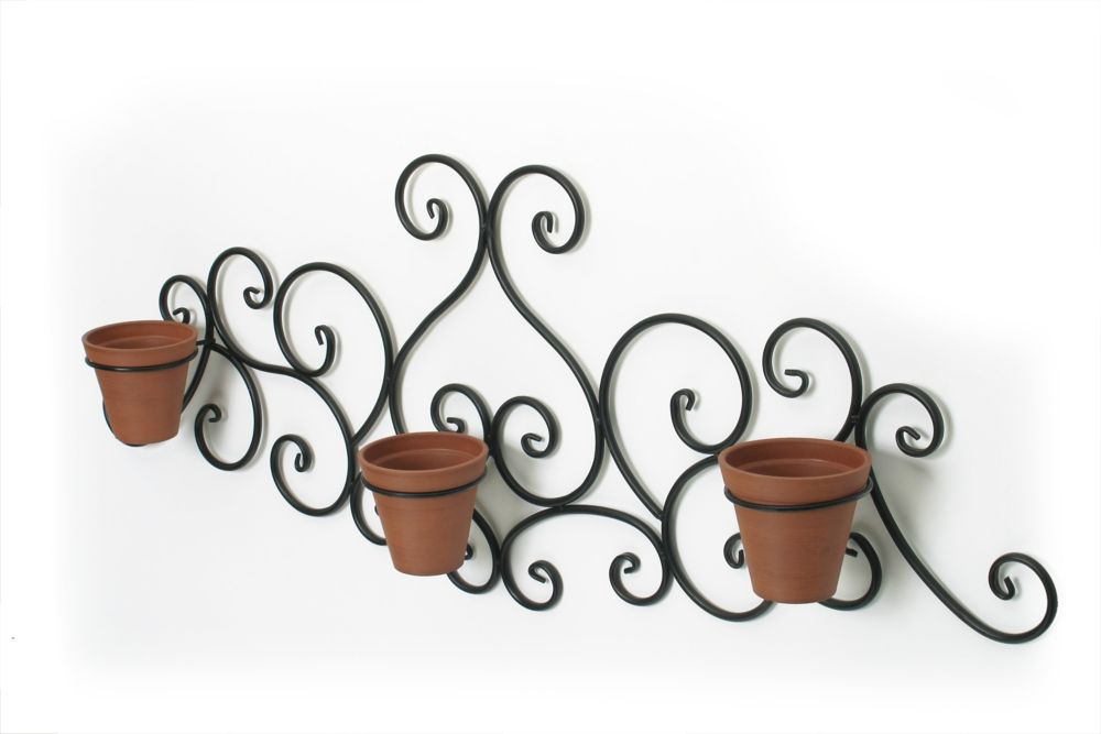 Victorian Scroll Wall Art With 3 Terra Cotta Planters
