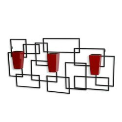 Algreen Products Vida3 Wall Art with 3 Red Self-Watering Planters