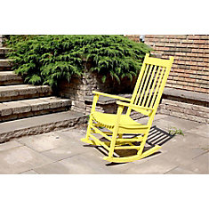 Deluxe Wooden Patio Rocking Chair in Yellow