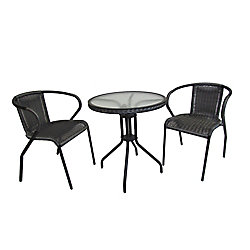Henryka 3-Piece Patio Bistro Set Round Table Steel Frame in Grey