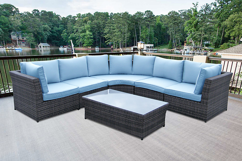 6 Piece Wicker Patio Sofa Set In Grey With Rectangular Table And Blue Cushions