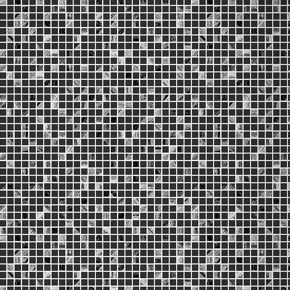 Aroura Tile Black & Silver Modern Living Wallpaper