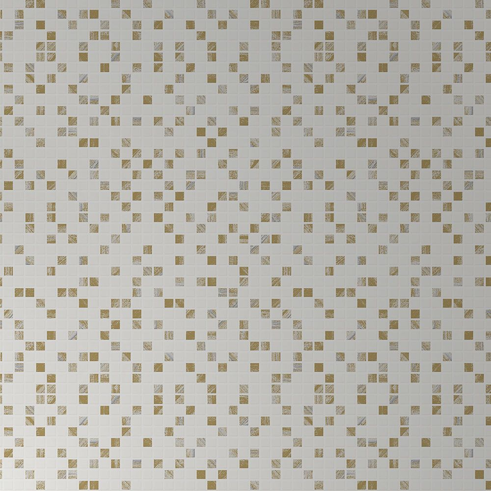 Aroura Tile White Gold Modern Living Wallpaper