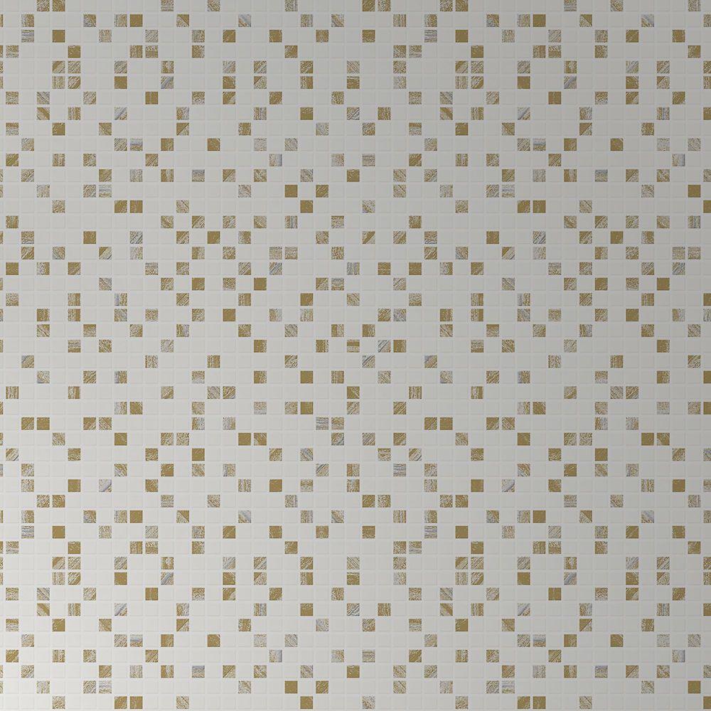 Tuile Aroura Papier Peint Blanc/Or