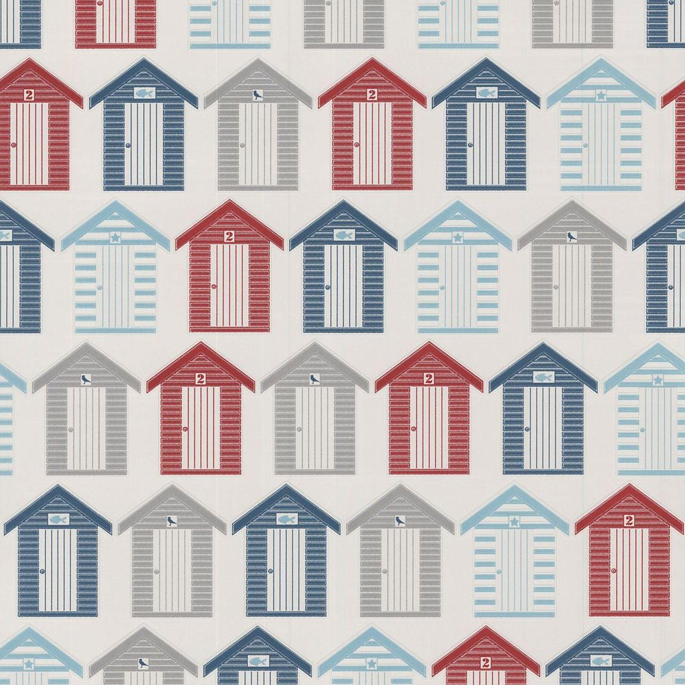 Beach Huts Red/Blue/Grey Wallpaper