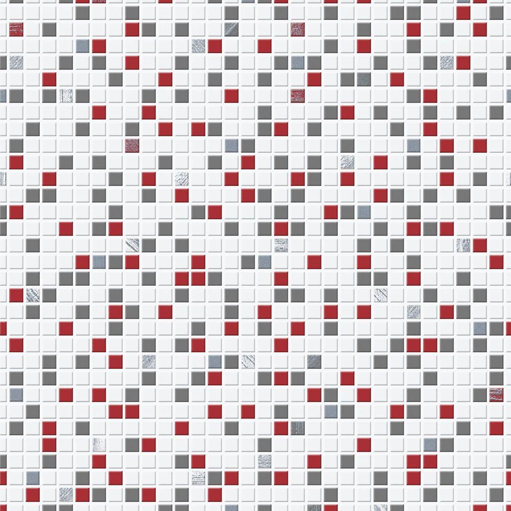 Carreaux Papier Peint Rouge/Blanc/Noir