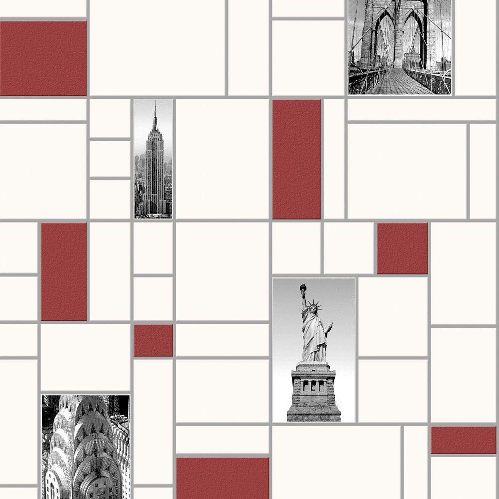 NYC Tile Red, Black & White Modern Living Wallpaper