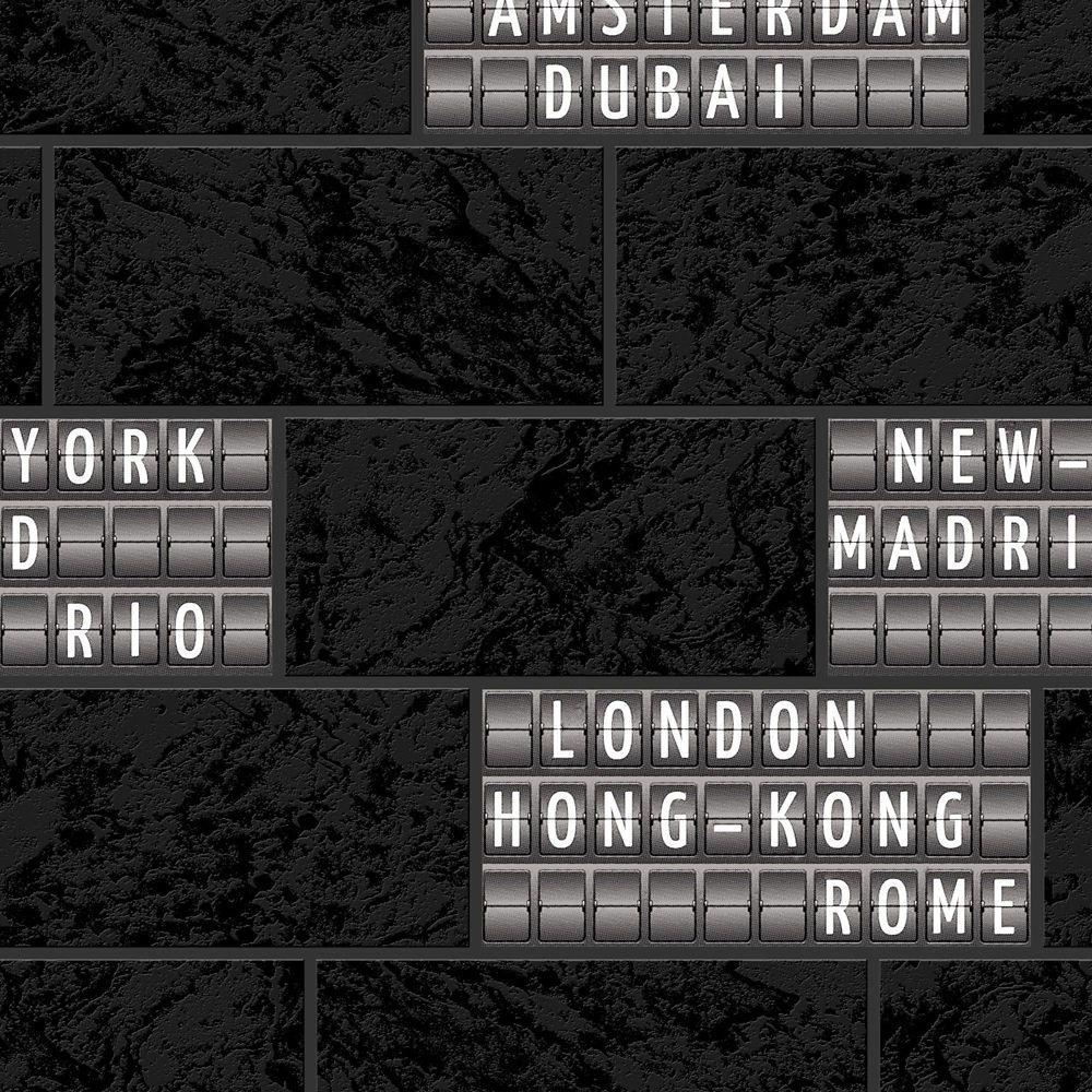 Airport Tile Black & White Modern Living Wallpaper