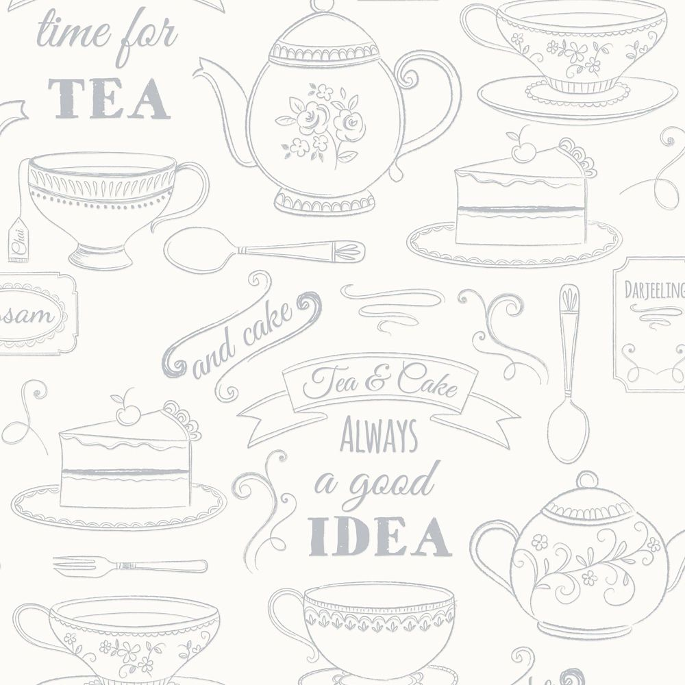 Afternoon Tea White/Silver Wallpaper