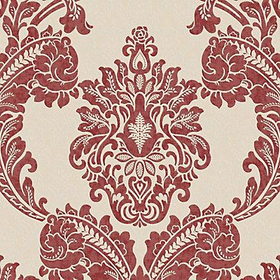 Graham Brown Regent RedCream Wallpaper The Home Depot Canada - Brown and cream wallpaper
