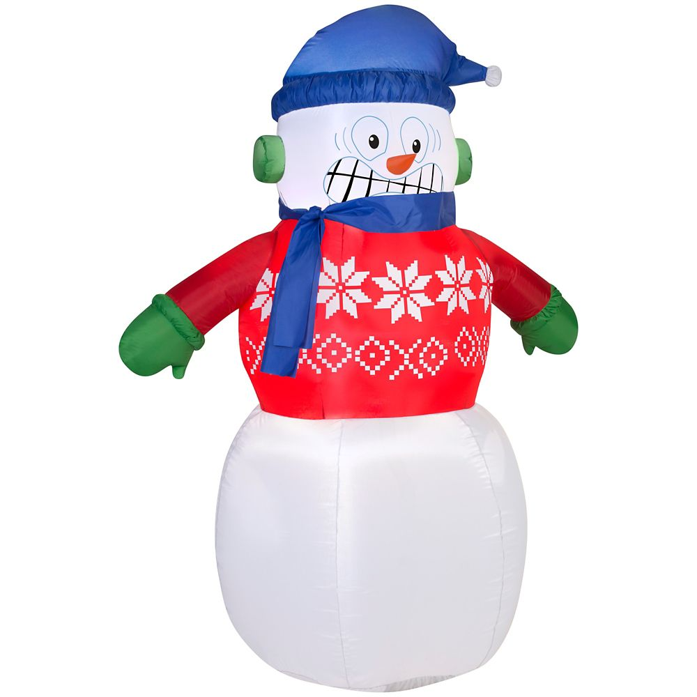 Airblown 6 ft. Inflatable Shivering Snowman Decoration | The Home ...