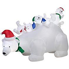 6.5 ft. Inflatable Polar Bear Family