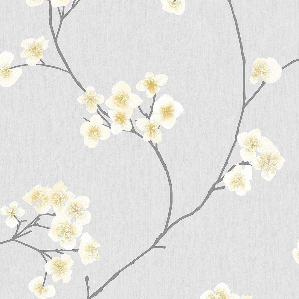 Radiance Grey/Ochre Innocence Wallpaper