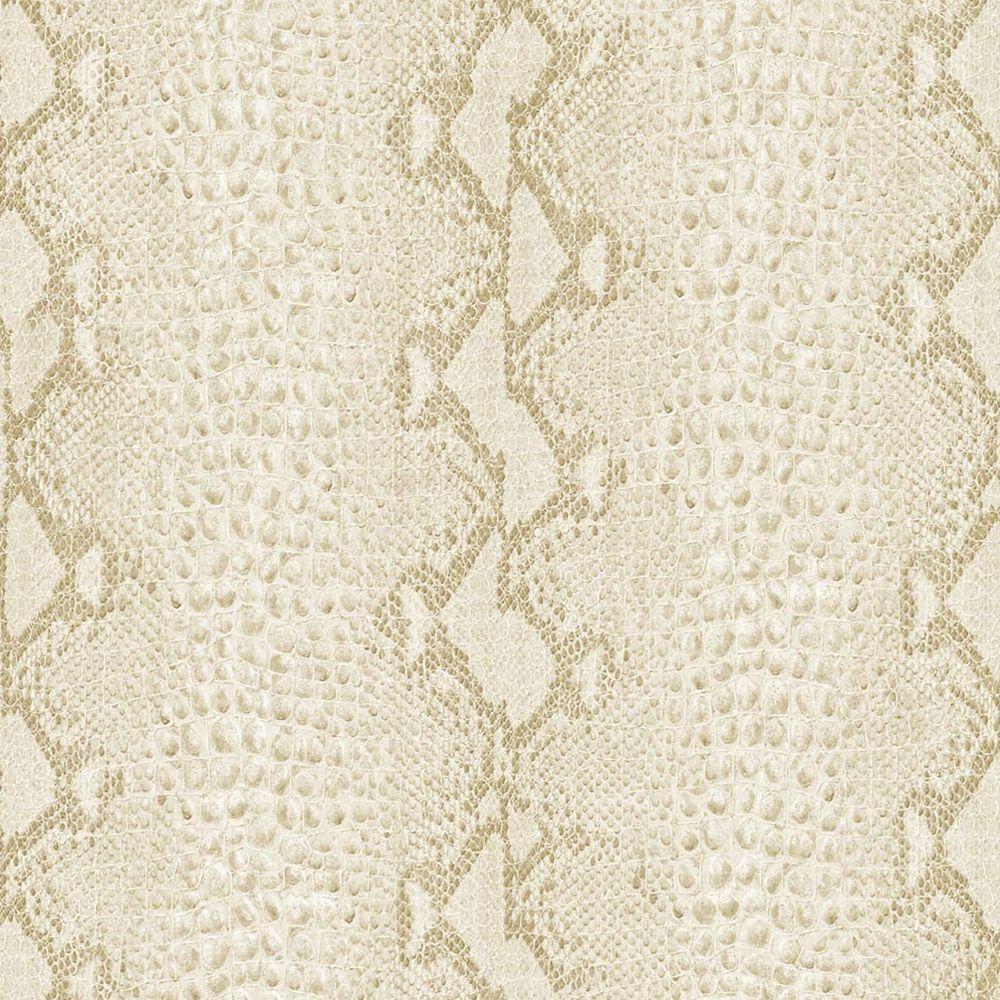 Snake White/Gold Wallpaper