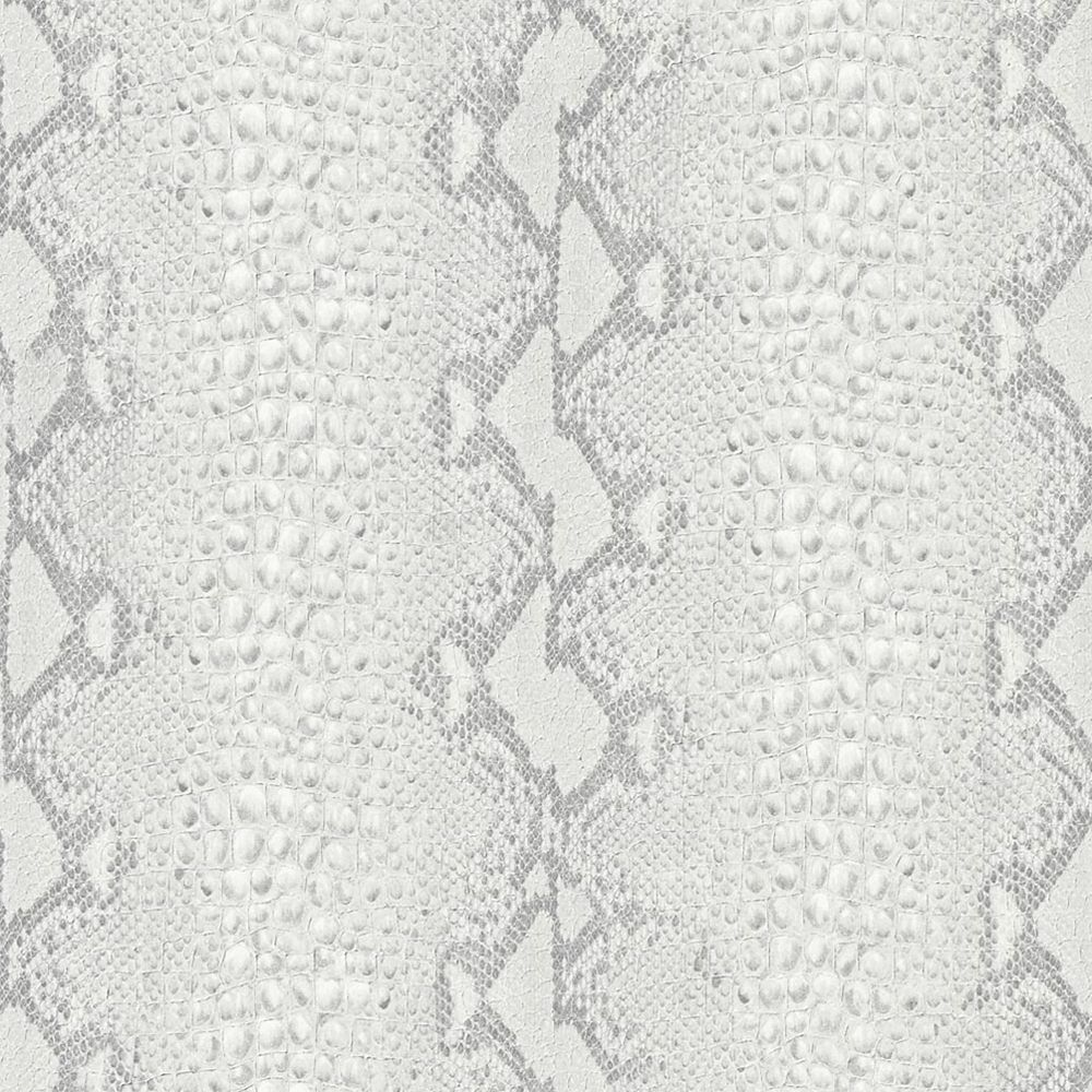Snake White/Silver Wallpaper