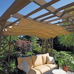 Yardistry 12 ft. x 14 ft. Retractable Sun Shade in Beige