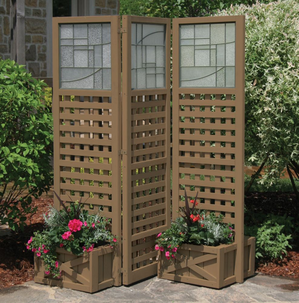 Faux Glass & Lattice Privacy Screen With Planters - Brown