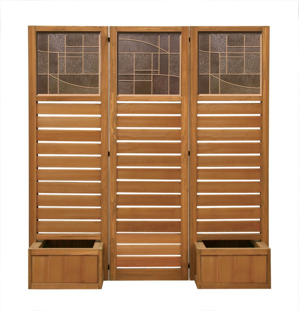 Faux Glass & Slat Panel Privacy Screen With Planters - Brown